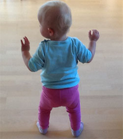 A human baby learns to walk after their brain grows larger. Image by Nile60.