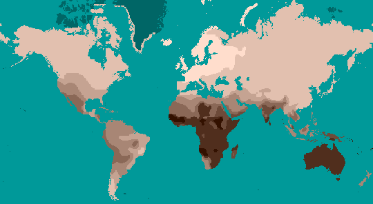 This map shows human skin color variation across the globe. Image by Dark Tichondrias; derivative work by Tuvalkin.