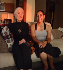 Dr. Jane Goodall with former IHO graduate student Samantha Russack.