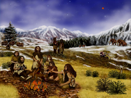 An artist's rendition of a Neanderthal family about 60,000 years ago. Image by Randii Oliver.