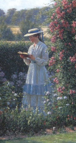 "Because you're bipedal, you can carry other things while you walk. This painting is ""Sweet Solitude"" by Edmund Blair Leighton."