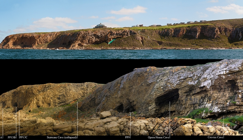 Above-coastline of Mossel Bay; below-close up detail of the cave locations