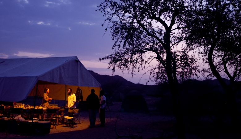 Field camp at night