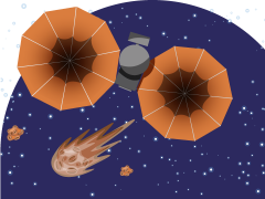 Illustration of lucy shuttle in space
