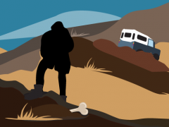 An Illustration showing a silhouetted scientist in the desert