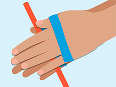 Two hands holding a straw without using thier thumbs
