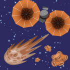 Illustration of lucy shuttle on the way to Trojan asteroids